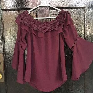 Off the shoulder crochet top bell sleeves WHBM